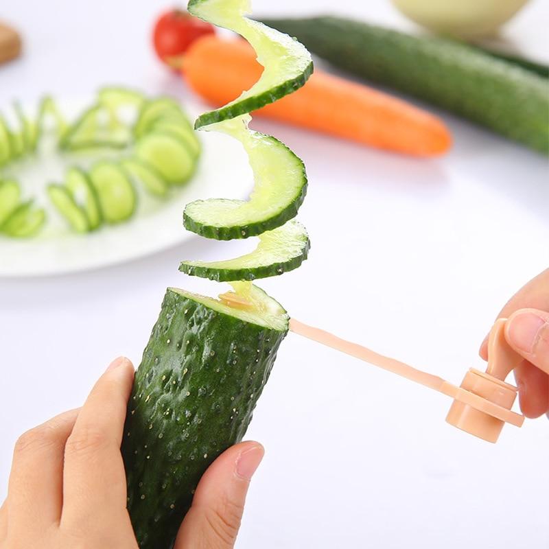 1Pcs New Potato Vegetable Spiral Cutter Slicer Manual Spiral Chips Tower Making Twist Shredder Cooking Tools F2312