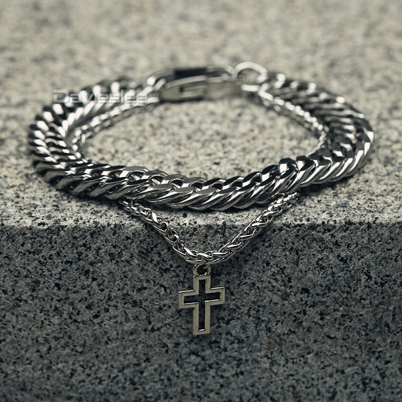 Davieslee Bracelet for Men Double Chains Rombo Wheat Link Stainless Steel Cross Charm Silver LDB13