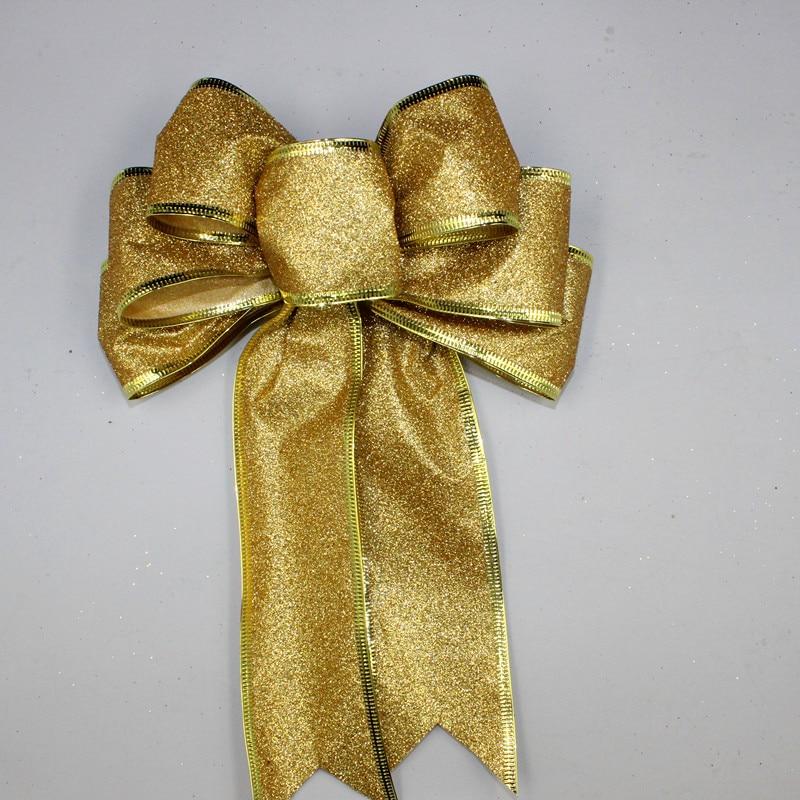 3 Color Grande Rojo Plata Oro Brillante Glitter Cinta de Navidad Arco - Para fiestas y celebraciones - foto 3