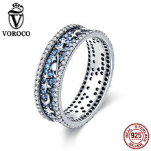 VOROCO Real 925 Sterling Silver 3A Cubic Zircon Fine Jewelry Bridal Ring Moon & Star Galaxy Silver Rings for Women Bijoux BKR347 ska brand monaco pearls ring women 925 sterling silver rings for women inlaid zircon moon trendy party fine jewelry a18603xpl