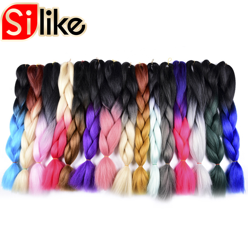 Jumbo Braids Hair Extensions & Wigs Silike 48 Inch Opened Kanekalon Jumbo Braids Synthetic Hair 100g Ombre Crochet Braiding Hair Extensions 1 Pack/lot Sturdy Construction