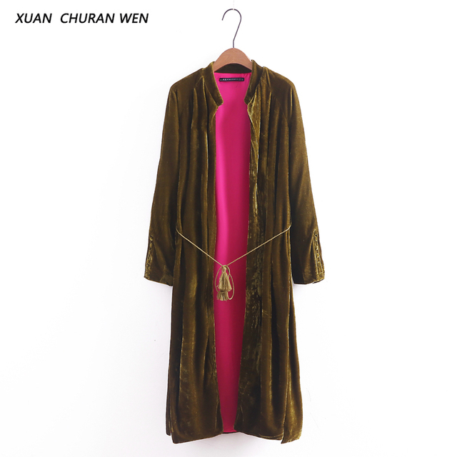 XUANCHURANWEN New Arrival Velvet Cardigan Kimono Women Coat Open Stitch 2017 Long Cardigan Outwear Solid Color Loose Coat XZ1322
