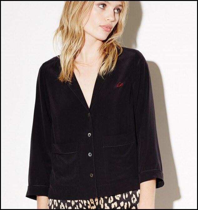 Kate Moss for EQ 100% silk signature embroidery ladies long sleeve pajama blouses women sleep shirt sprint autumn