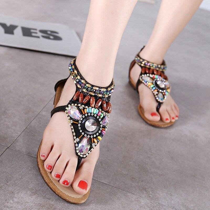 women thong multi color crystal rhinestone sandals flat heel shoes string bead bohemian sandals flip flops summer beach shoes