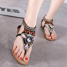 Femmes string multi couleur cristal strass sandales talon plat chaussures chaîne perle bohème sandales flip flops été plage chaussures