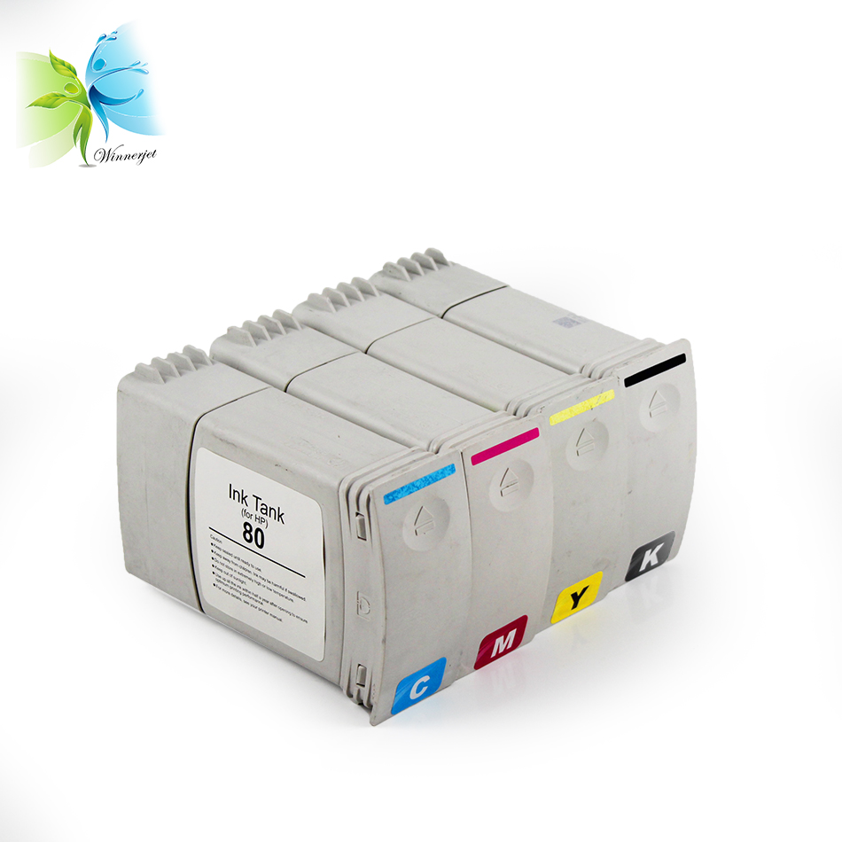 Winnerjet 350ML For hp80 Full compatible ink cartridge with Dye ink for HP Designjet 1050 1055 printer 4color in Ink Cartridges from Computer Office