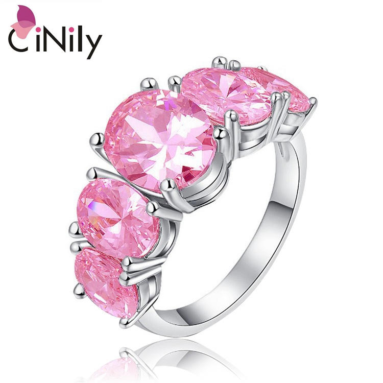 Cinily Jewelry Stone Ring-Size Wedding-Gift Silver-Plated Women for 6-8 NJ12 Pink Wholesale