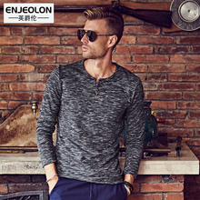 Enjeolon Brand 2017 Men Long sleeve T Shirts solid fashion v-collar Man's T-Shirts Slim Tops Tee RST1682-1 free ship 3XL