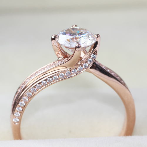 Queen Brilliance Solid 14K 585 Rose Gold  Luxury 1 Carat ct  G-H Engagement Wedding Lab Grown Moissanite Diamond Ring For Women