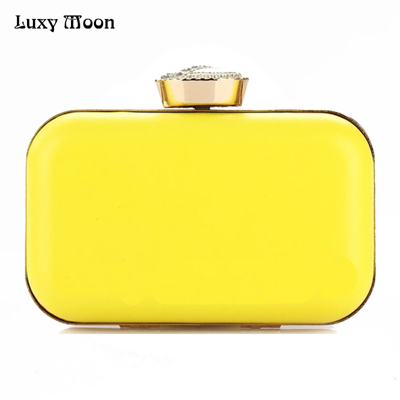 Luxy Moon Evening Bags New Women Candy Color Clutch Hot Wedding Clutches Crystal Clasp Bridal Sweet Purse Chains Handbags YW19