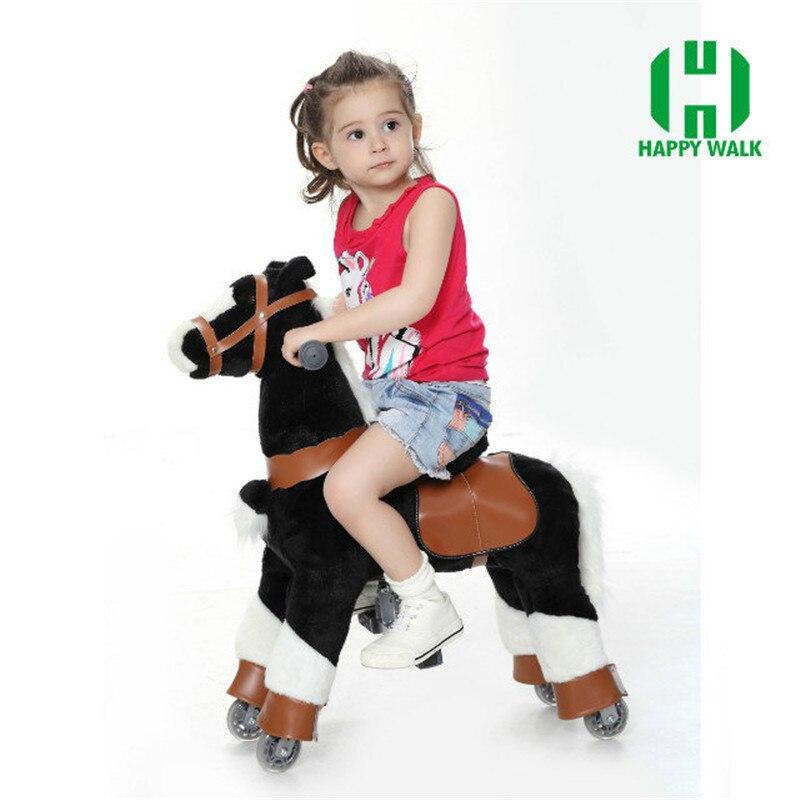 Плюшевые ходячие механические лошади игрушки для детей 3 7 лет, размер S, детские игрушки для верховой езды, игрушки на колесах, для езды на ло... - 4