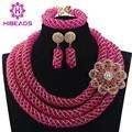 Ярко-Розовый Ювелирные Наборы Женщины Африканские Бусы Кристалл Свадебное Ожерелье 2017 Новый Стиль Подарок Ювелирных Изделий Бесплатная Доставка WD880