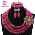 Hot Pink Jewelry Sets Women African Beads Crystal Wedding Necklace Set 2017 New Style Jewelry Gift Free Shipping WD880