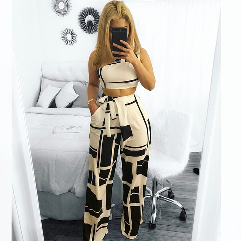 Suit Female 2 Piece Set Top And Pants 2018 New Arrival Two Piece Set Women Clothing One Shoulder Crop Top Wide Leg Pants Sets ...