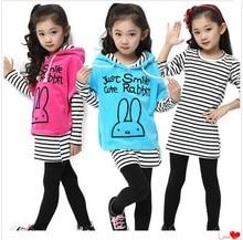 2015 весной и осенью девочка установить ребенок форме крыла летучей мыши рубашку три части набор полосой набор леггинсы девушки Детей костюм