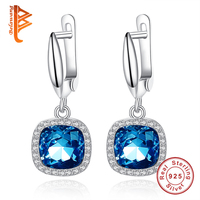 BELAWANG Top Qualität Blau Kristall Quadrat Ohrringe 925 Sterling Silber Ohrringe für Frauen Schmuck Österreichischen Kristall Großhandel
