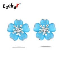 LEEKER Vintage Blue / Biege / Pink Опал-Серьга для мальчика с кубиками Zirconia Women Party Jewelry 91660 LK9