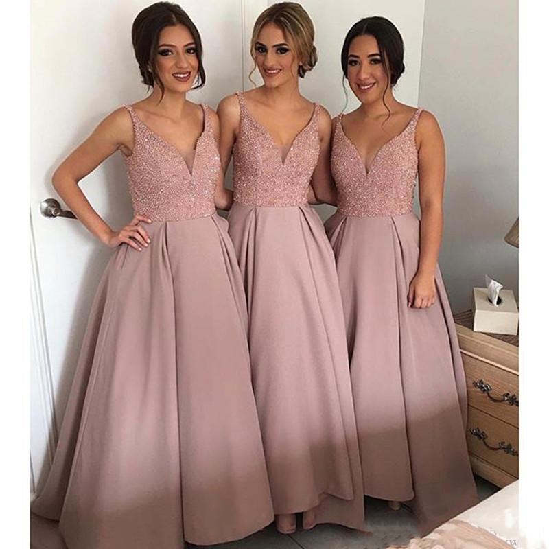 New Arrival V neck A Line Crystal Ruffle Sleeveless High Low Beautiful   Bridesmaid     Dresses
