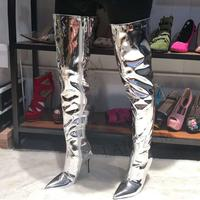 LAIGZEM Shiny Silver Women Thigh Knee Boots Stiletto Heels Pointy Toe Boots Over Knee Zip Shoes Woman Botas Mujer Big Size 34 47