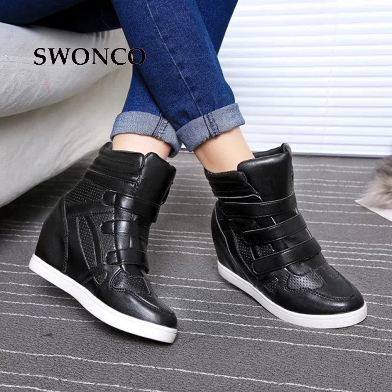 SWONCO Womens Flats Shoes 2018 Autumn 5.5cm Height Increased PU Leather Casual Sneakers Women Shoes Flat Platform Zapatos MujerSWONCO Womens Flats Shoes 2018 Autumn 5.5cm Height Increased PU Leather Casual Sneakers Women Shoes Flat Platform Zapatos Mujer