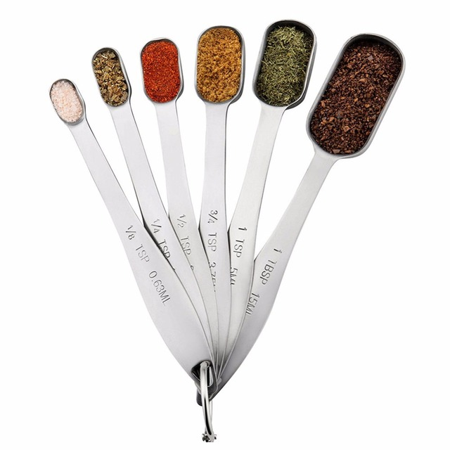 Satinless Steel Measure Spoon Set Kitchen Scale Tool Rectangle Measuring Spoons
