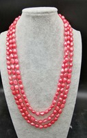 Freshwater Pearl Pink Red Baroque 7 9mm Necklace 75inch FPPJ Wholesale Beads Nature
