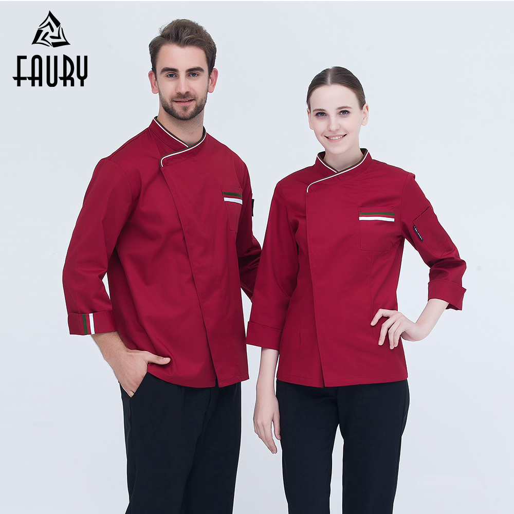 New Arrival Chef Uniform Long-sleeved Oblique Collar Patchwork Kitchen Bakery Restaurant Cook Clothes Chef Jackets High Quality