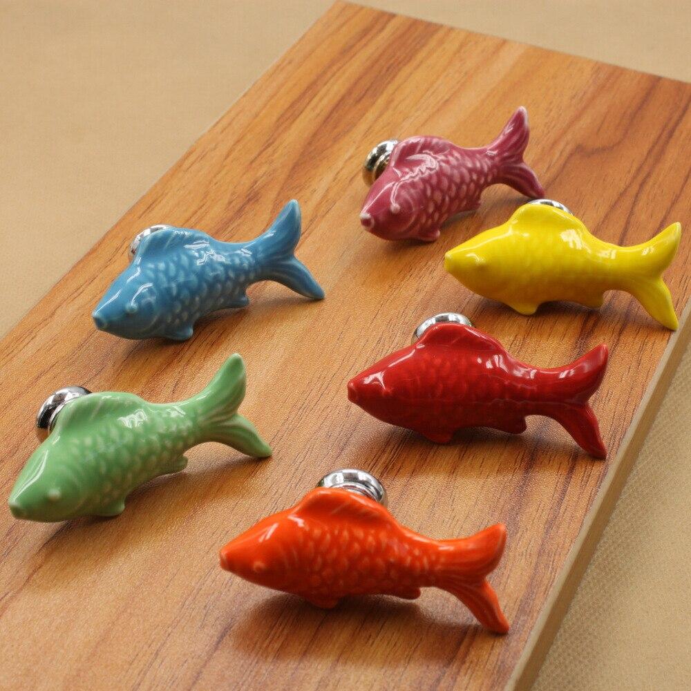 10pcs Ceramic Door Knobs Cute Fish Shape Pulls Handle For Door ...