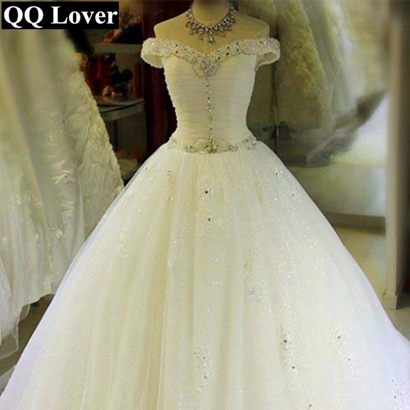 QQ Lover 2019 New Romantic Beaded Off The Shoulder Wedding Dress Bridal Gown Custom Made Plus Size Vestido De Noiva