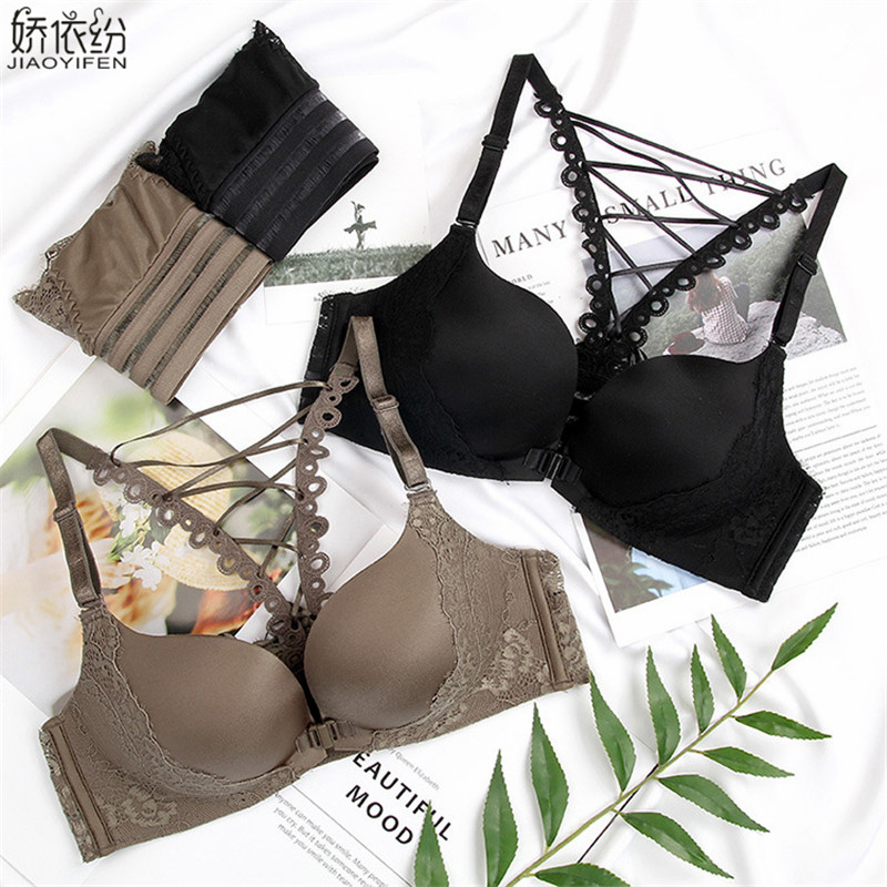 Women Seamless Underwear Sexy Lace Back   Bra     Set   New Fashion Front Closure Bralette Thin Cup Push Up   Bra     Set   Japan Lingerie