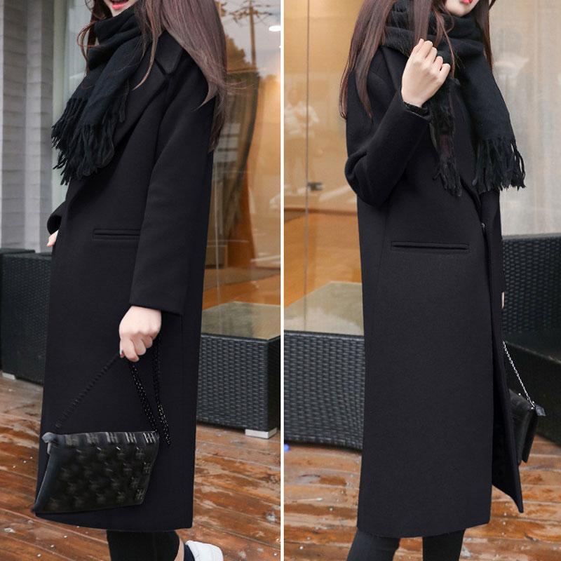 1PC Spring Autumn Women's Wool Coat New Fashion Long Woolen Coat Single Breasted Slim Type Female Autumn Winter Wool Coats 9