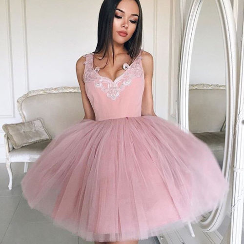 Hirigin Sweet Women's Lace Prom Floral Formal Party Pink Colors V-Neck Bridesmaids Gowns Dress