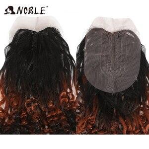 Image 5 - נובל סינטטי שיער האפרו קינקי מתולתל שיער Ombre שיער חבילות הרחבות עבור שחור נשים סינטטי שיער תחרה קדמי עם סגירה