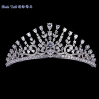 Exellent Full AAA CZ Crowns Tiara Bridal Wedding Hair Jewelry Accessories Pageant Headpiece TR15063