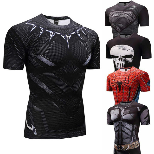 39b4a2804e Camisa de compressão Homens rashguard MMA 3D Superman super homem Rashgarda  Punisher Crossfit Aptidão superman T