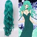 New Fashion Long Dark Green Synthetic Hair Wigs Sailor Moon Sailor Neptune Kaioh Michiru Anime Cosplay Wig Free Shipping
