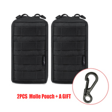 2pcs Tactical Molle Pouch Waterproof EDC Bag Waist Belt Phone Pouch Utility Gadget Pack Outdoor Airsoft Hunting Accessory