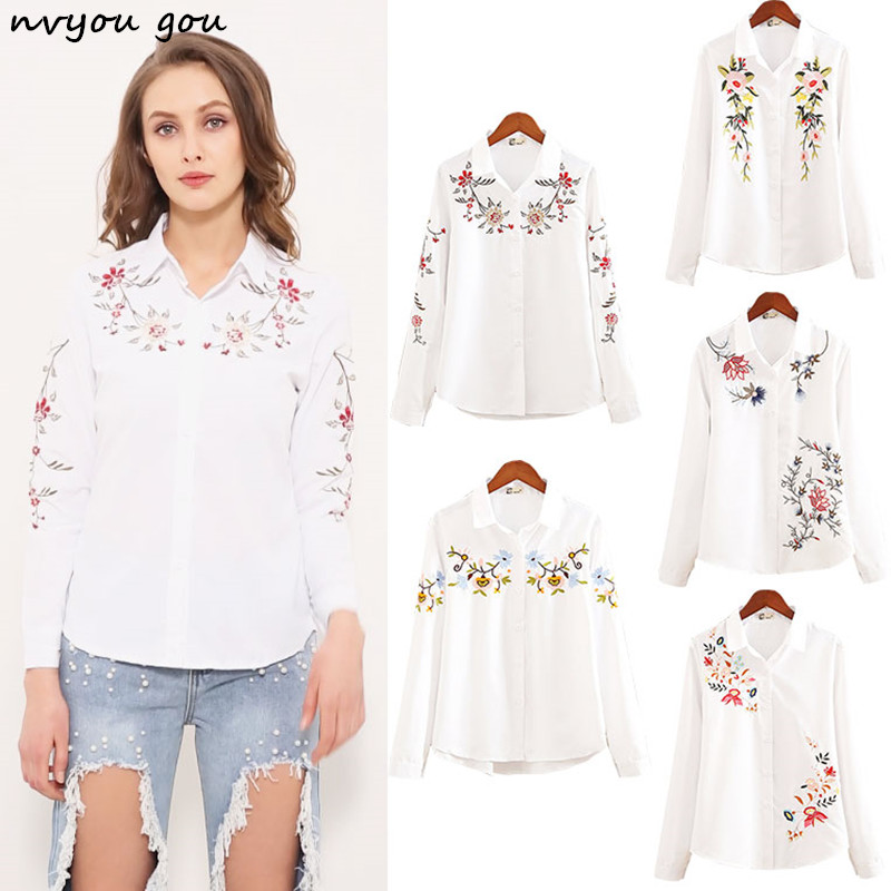 364e96edb68 nvyou gou 2018 Floral Embroidered Blouse Shirt Women Slim White Tops Long  Sleeve Blouses Woman Office Shirts plus size-in Blouses   Shirts from  Women s ...