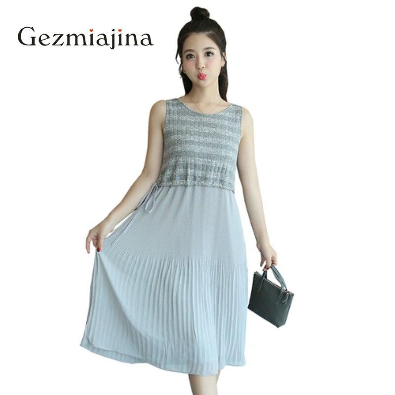 Summer Maternity Clothes Pregnancy Wear Sleeveless Striped Knit Chiffon Maternity Dress Loose Stitching Long Dress