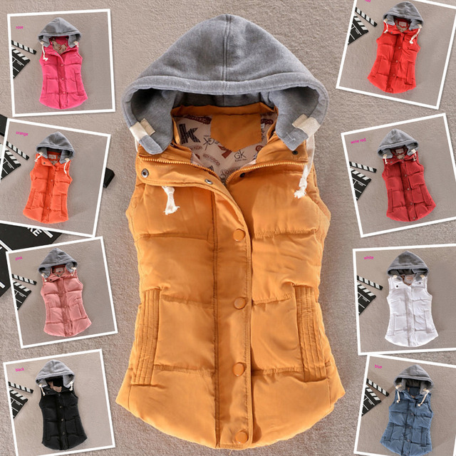 Plus Size Hooded Vest Jacket Women Coat Design 2015 New Autumn Winter Gilet Colete Feminino Casual Waistcoat Outerwear ZL3388
