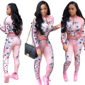 ICHOIX Fashion print 2 piece set women pant and top Casual sexy Women's Sets Long sleeve two piece ensemble femme 2017