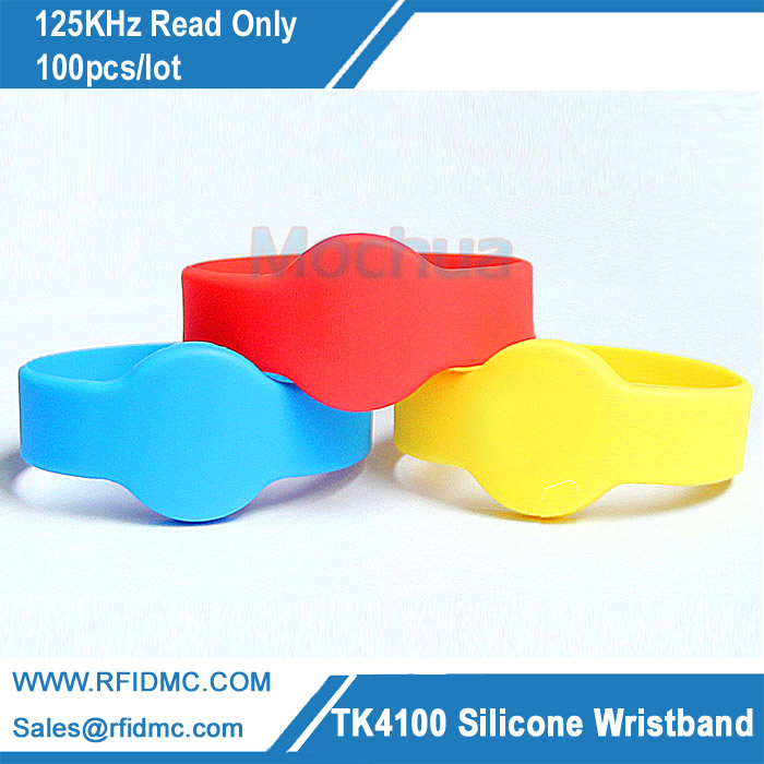 125Khz EM4100 read only RFID Silicone Wristband x 100pcs lot