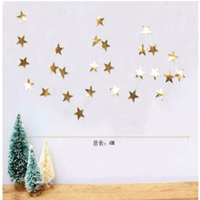 ZLJQ Mirror Star Christmas Ornaments Creative DIY Gold/Silver Star Xmas Tree Decorations New Year Party Window Layout 6D