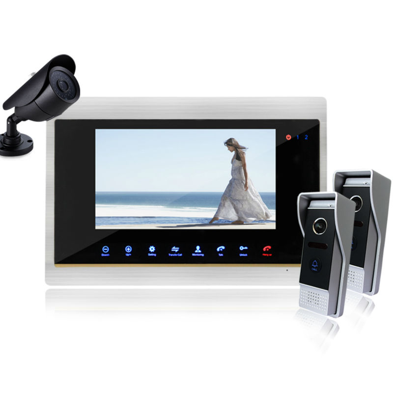 Homefong FREE SHIPPING 7 Inch Night Vision Video Door Phone Intercom System with TFT LCD Touch Pad Color Monitor\Outdoor Camera 7inch video door phone intercom system for 5apartment tft lcd screen 5 flat indoor monitor with night vision cmos outdoor camera
