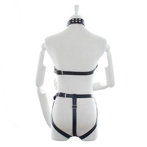 Image 3 - Womens PU Leather Strappy Fetish Body Harness Halter Neck Teddies Cupless G String Back Bodysuit Erotic Costume Lingerie Set