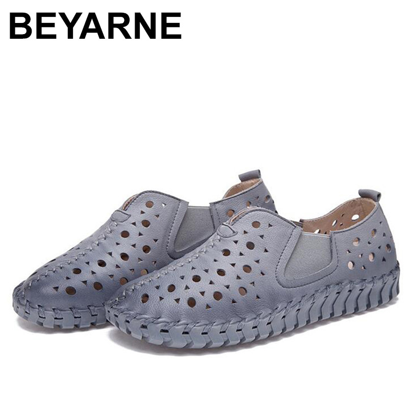 где купить BEYARNE Genuine Leather Shoes For Women Pointed Toe Casual Nurse Shoes Autumn Flat With Leather Women Loafers Shoes по лучшей цене