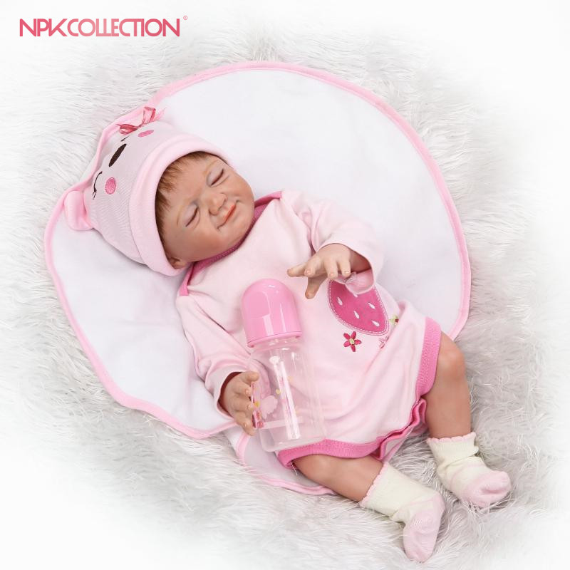 NPKCOLLECTION wholesale reborn baby doll with full vinyl body very cute girl gender doll soft gift for kids on Birthday pink wool coat doll clothes with belt for 18 american girl doll