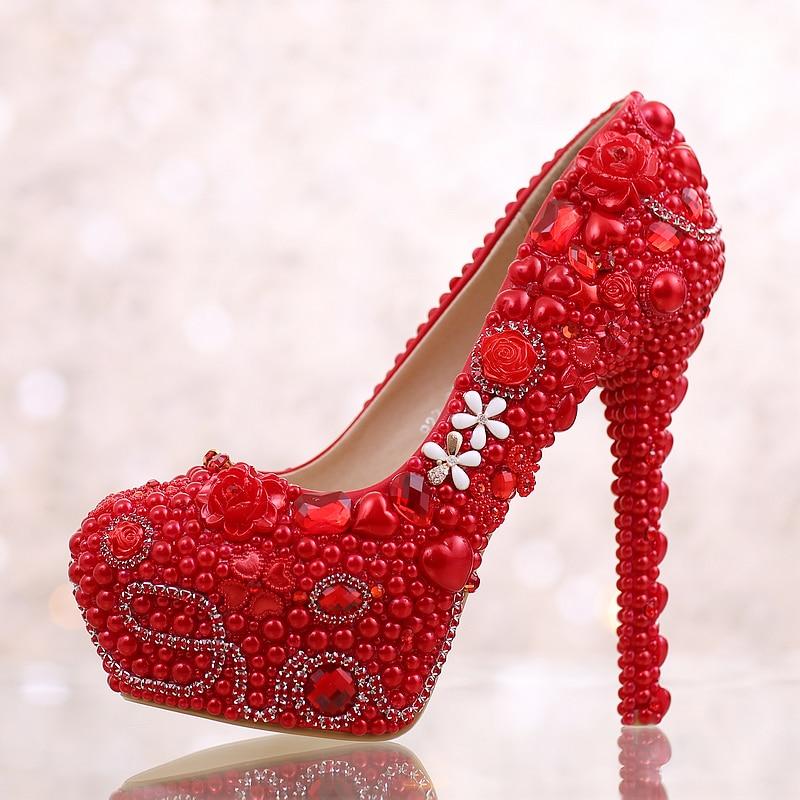 Esthétique chaussures pour femmes plate-forme de mariée chaussures de mariage unique ivoire perle strass chaussures de mariage 14 cm à talons hauts - 3