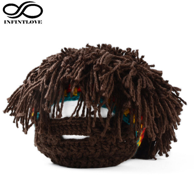 Men Crochet Knitted Rasta Beanie Hat With Bearded Mask Photography Props Costume Adjust Size