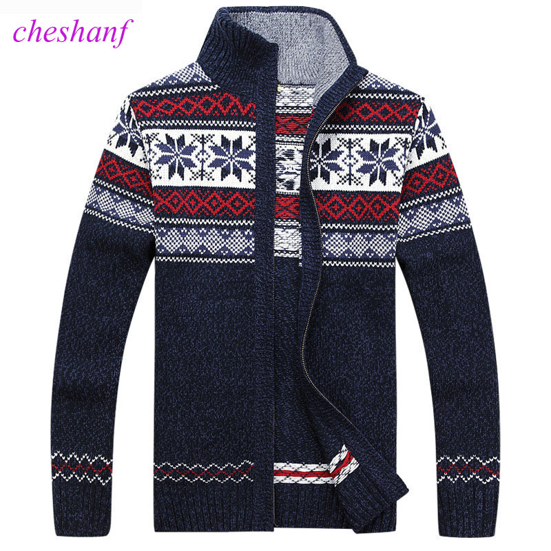 Cheshanf Men Sweater Autumn Winter Wool Cardigan Jacket Men's Fashion Casual Jacquard Sweater Coat Christmas Knitted Wear Hombre